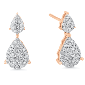 Illusion Pear Diamond Double Stud Earrings