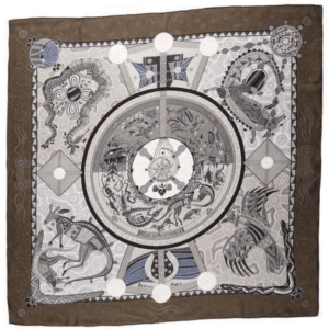 Hermes Grey Silk Scarf MM