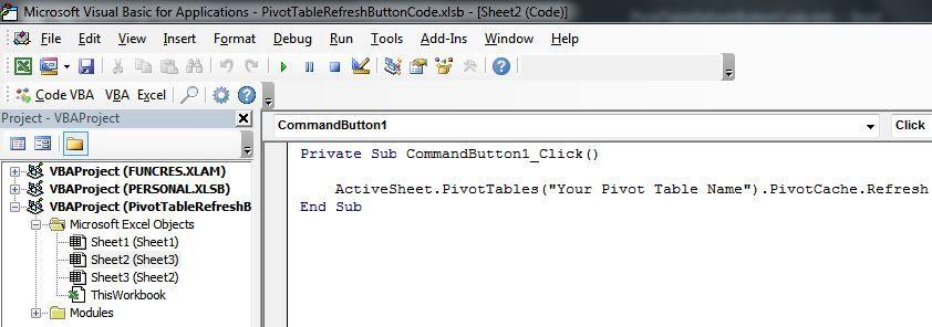 Pivottablerefreshcodeg add your pivot table also create  button to refresh tables in file microsoft tech rh techcommunity