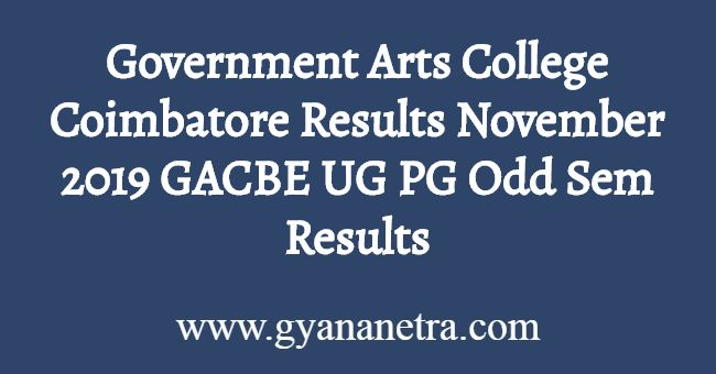 Government Arts College Coimbatore Results