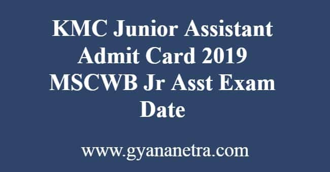 KMC Junior Assistant Admit Card