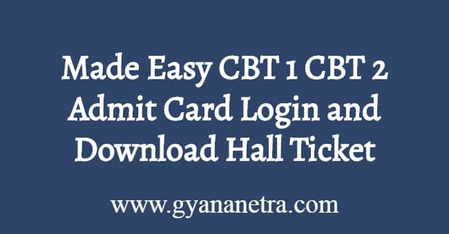 Made Easy CBT 1 Admit Card
