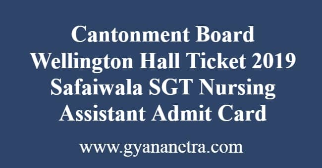 Cantonment Board Wellington Hall Ticket