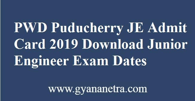 PWD Puducherry JE Admit Card