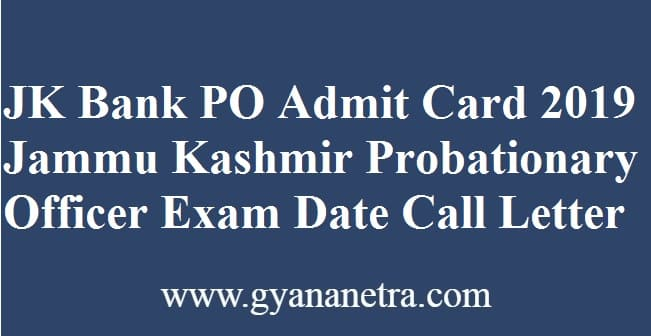 JK Bank PO Admit Card
