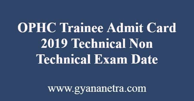 OPHC Trainee Admit Card