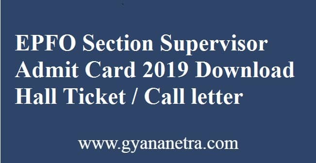 EPFO Section Supervisor Admit Card