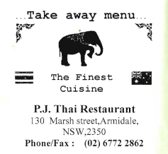 P.J. Thai Restaurant Armidale - Take away menu - October 2010