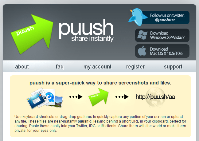 Puush Me – Free and Simple Way for Screen Capture and Online