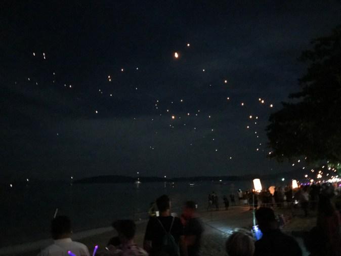 lamp light in the sky
