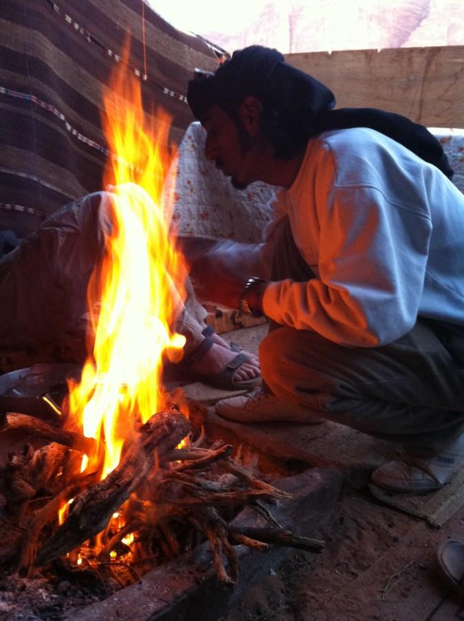 fire in beduin tent