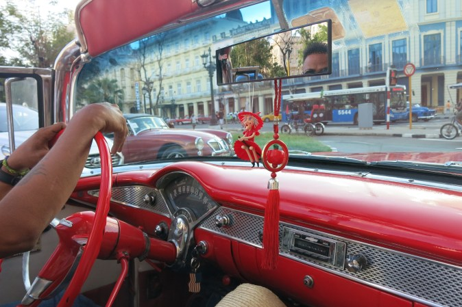 in the red cab