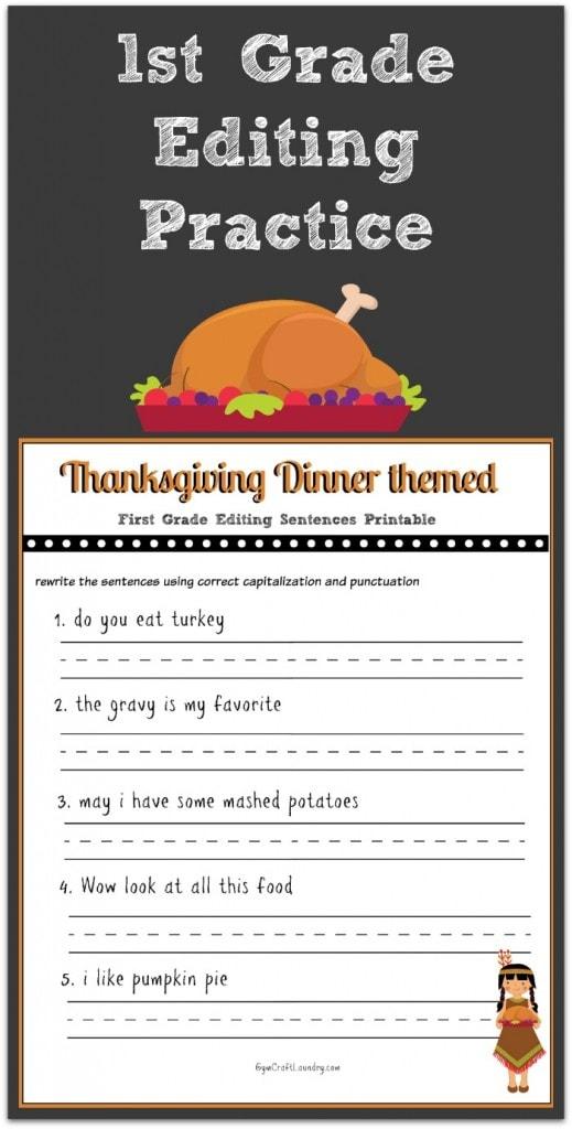 Thanksgiving 1st Grade Editing Printable