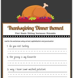 Thanksgiving 1st Grade Editing Printable - Gym Craft Laundry [ 1381 x 700 Pixel ]