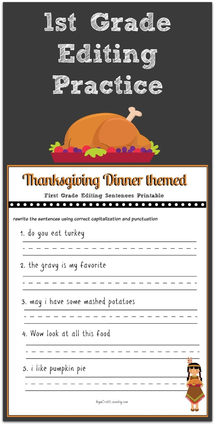 medium resolution of Thanksgiving 1st Grade Editing Printable - Gym Craft Laundry