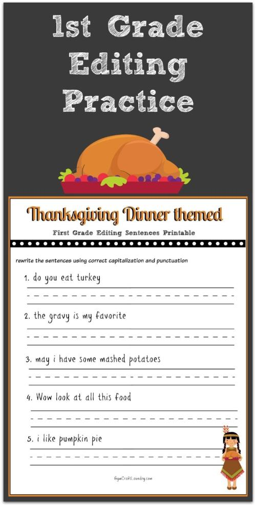 small resolution of Thanksgiving 1st Grade Editing Printable - Gym Craft Laundry