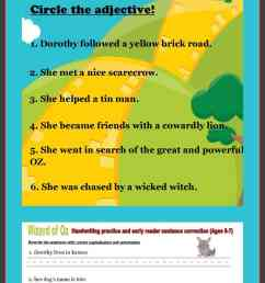 First Grade English Worksheets: Wizard of Oz themed - Gym Craft Laundry [ 1785 x 1024 Pixel ]