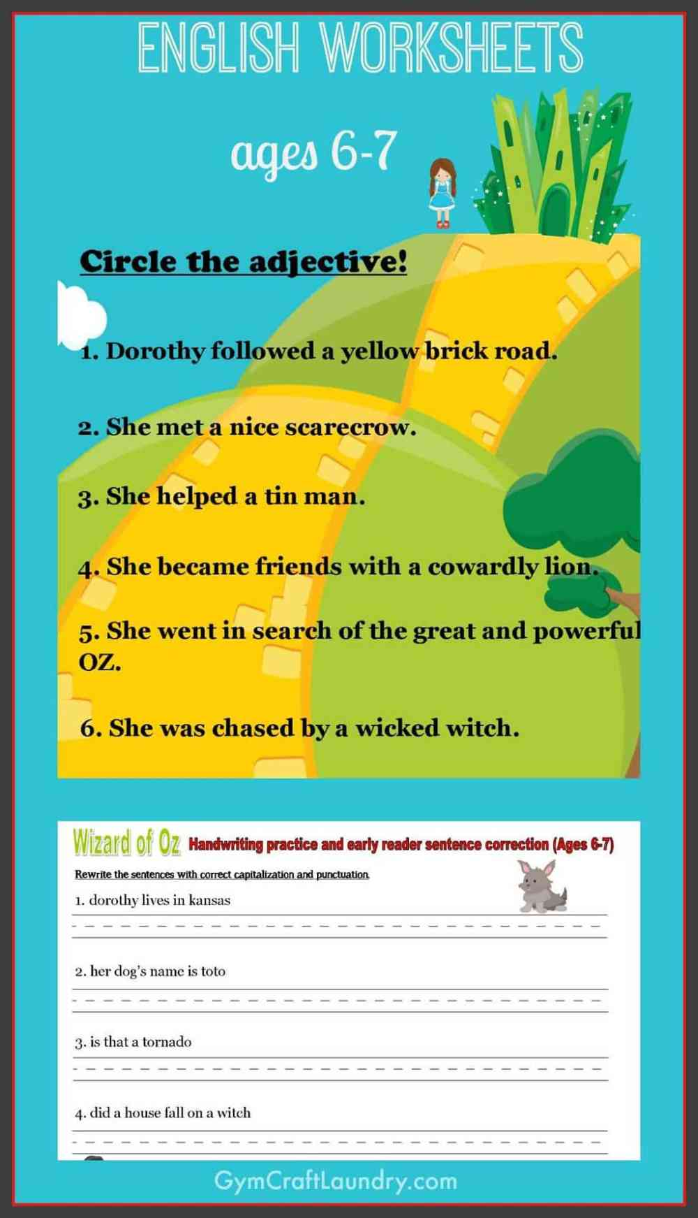 medium resolution of First Grade English Worksheets: Wizard of Oz themed - Gym Craft Laundry