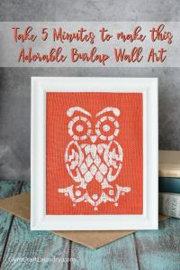 Quick and Easy DIY Owl Burlap Wall Art - Gym Craft Laundry