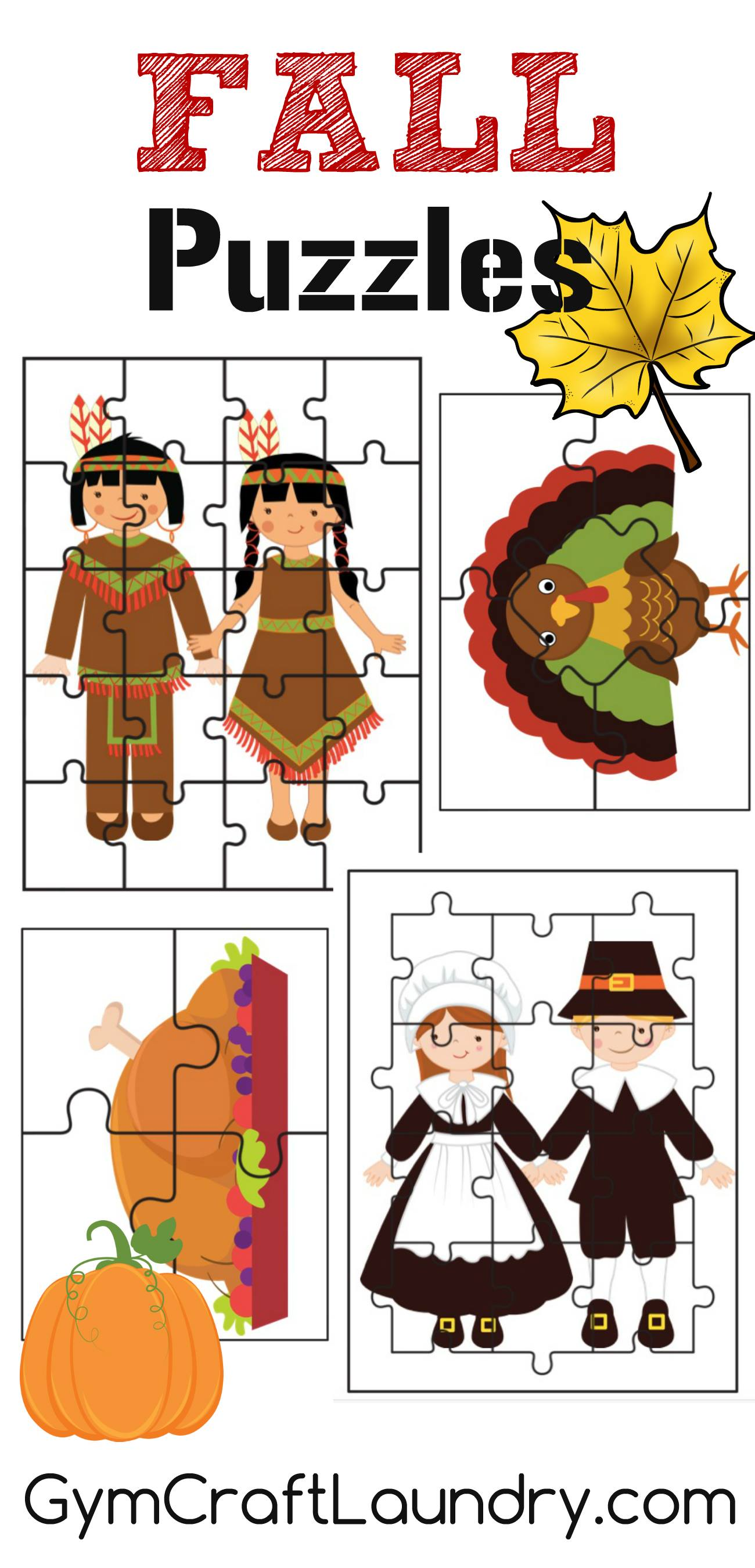 Fall And Thanksgiving Puzzle Activities Printables