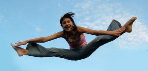 practice gymnastics on trampoline