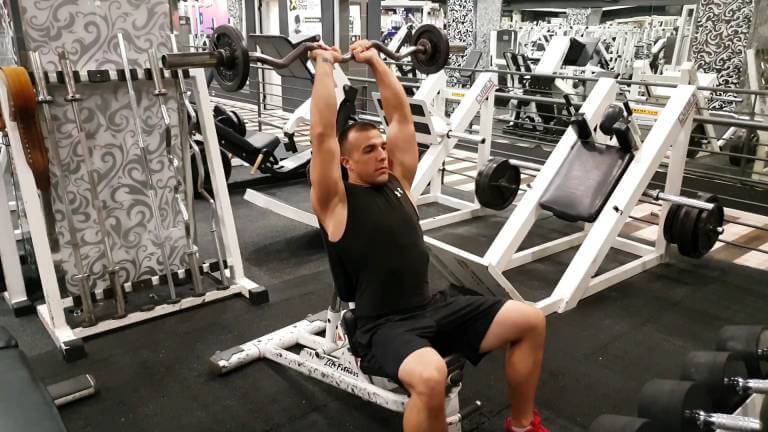 Seated EZ-Bar Triceps Extensions