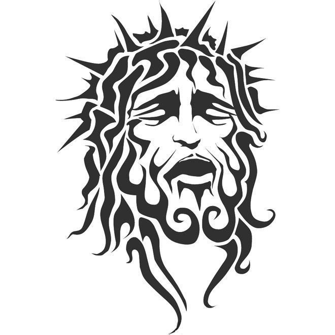 Jesus head with thorn crown tribal art design car decal sticker