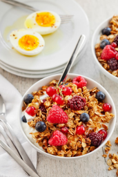 oatmeal fruits and eggs