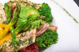 organic chicken breast, dark green leafy vegetables, avocado slices