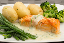 salmon, potatoes and broccoli