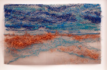 """Prodigal Pine (2016), 5"""" x 8"""", 3x Blues, Bronze and less tension - loopers, FLIPPED."""