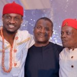 Photo: Peter Okoye and His Dad Pictured With Dangote At Peter's Wedding