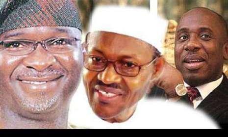 President Muhammadu Buhari and former governors, Rotimi Amaechi and Babatunde Fashola (Photo Credit: Naija 247)