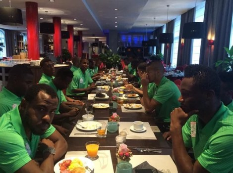 Vincent Enyeama At Super Eagles Breakfast This Morning in Belgian