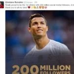 Cristiano Ronaldo Reach Another Landmark, Becomes First Athlete to Reach 200 Million Followers on Social Media