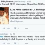 Twitter Fight between Doyin Okupe and Politico Blogger Over EFFC Invitation on Arms Deal Scandal  : You're Lunatic and God Will Disgrace Your Family — Doyin Okupe