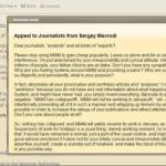 "MMM Founder, Sergey Mavrodi Open Letter to Journalists "" Leave Us Alone """
