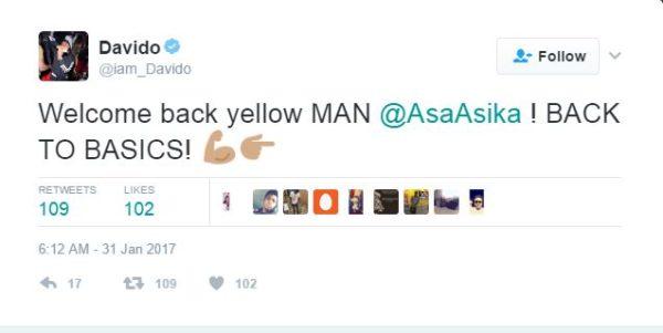 Asa Asika back as Davido Manager