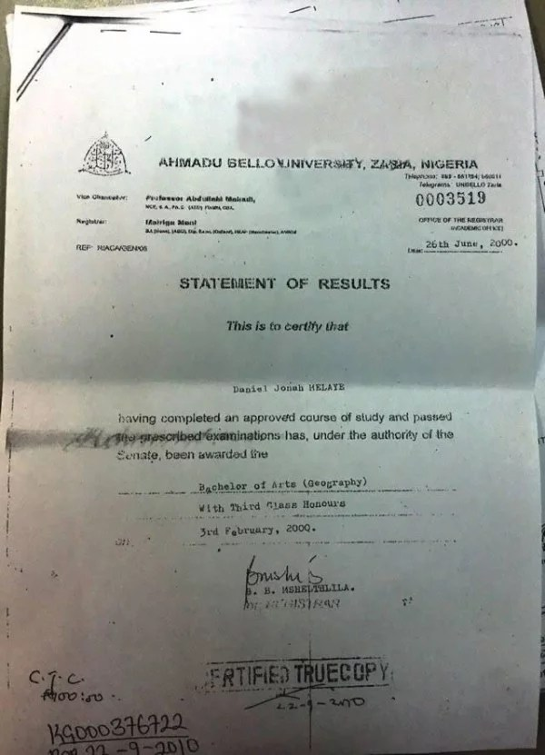 Dino Melaye Certificate 01