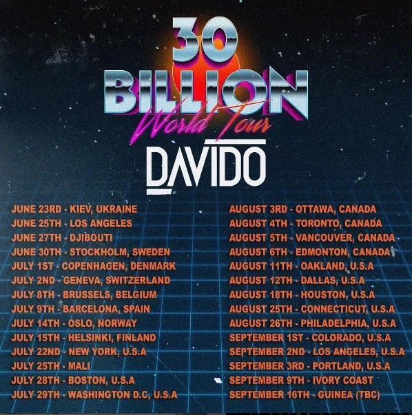 Davido 30 BIllion World Tour