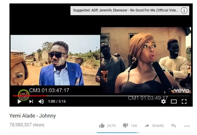 Yemi Alade -- Johnny on YouTube