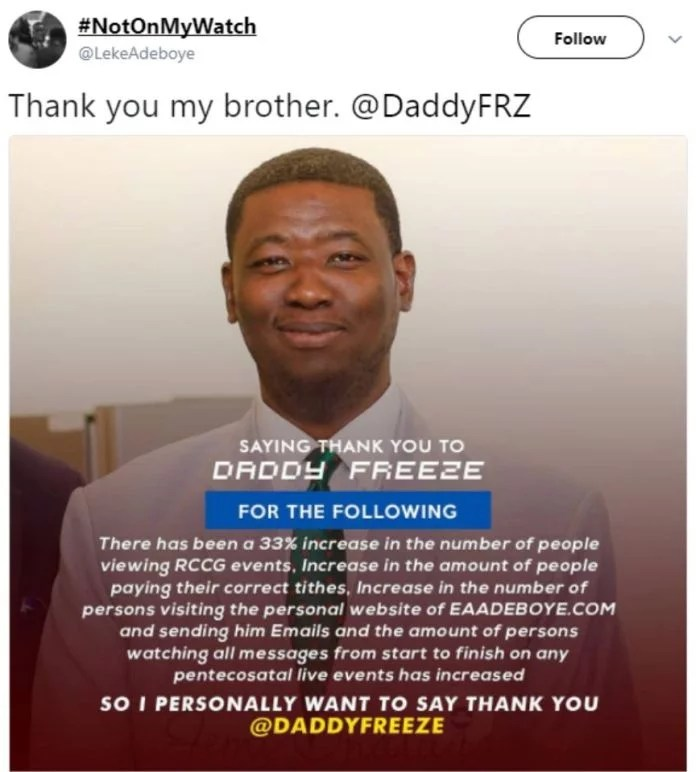 Leke Adeboye to Daddy Freeze