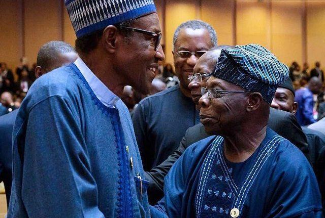 Buhari and Obasanjo at AU Summit 2018