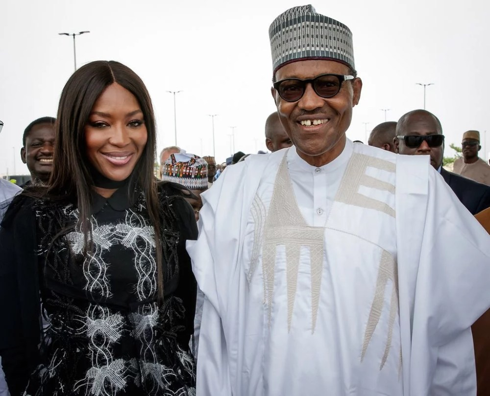 President Buhari and Naomi Campbell in Lagos 00