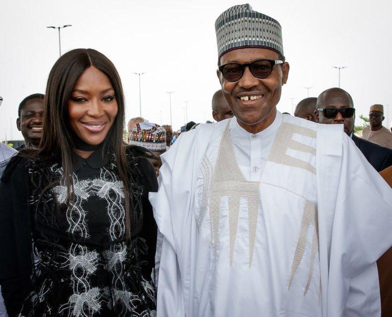 President Buhari and Naomi Campbell in Lagos 00