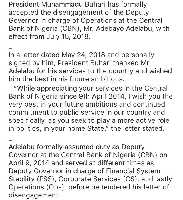 CBN Deputy Governor Adebayo Adelabu Resigns 00