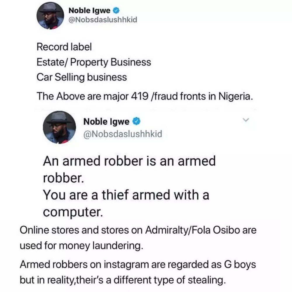 Noble-Igwe Yahoo Boy Tweet