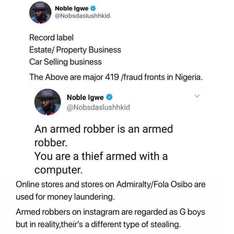 Noble-Igwe Yahoo Boy Tweet