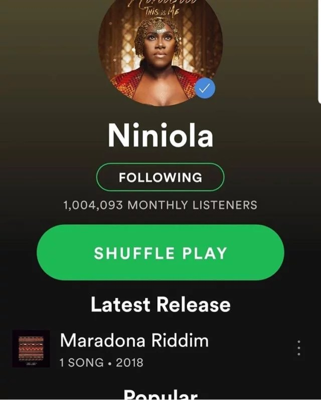 Niniola Hit 1Million On Spotify