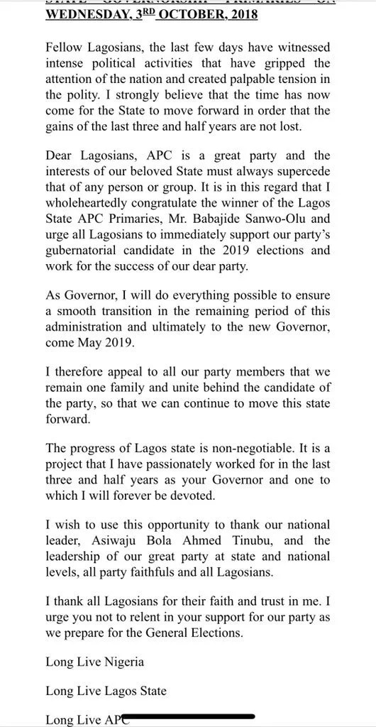 Gov Ambode Accepts Defeat for APC Primaries